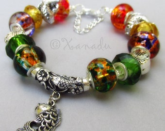 Asian Koi Fish Pond European Charm Bracelet With Green, Gold And Orange Lampwork Glass Beads