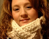 Cowl, Creme with Brown Buttons, Women's , crocheted, Valentines Day