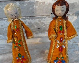 Vintage Pair of Handcrafted Gold Velvet Christmas Angels with Faux Jewels Spectacular
