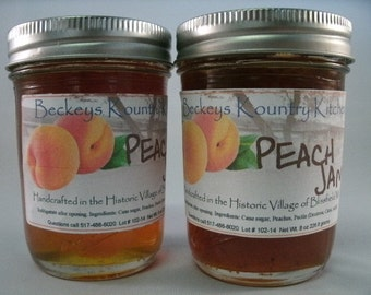 Two jars Peach Jam Homemade jam jelly Fruit spread handmade fruit preserves