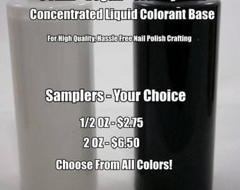 Color Base Concentrate - FDA Certified FD&C Color Additives - Highly Pigmented - Stain Free Nail Polish Colorant - 1/2 oz or 2 oz Sampler