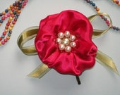 Satin Flower Bright Red Hair Clip with Pearls Handmade - labostyle
