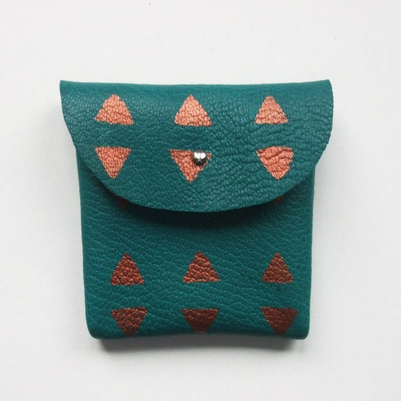 COIN PURSE // petrol blue leather with copper triangle print