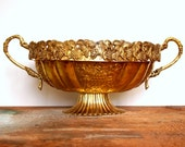 Vintage Large Brass Oval Shaped Footed Bowl with Grape Motif