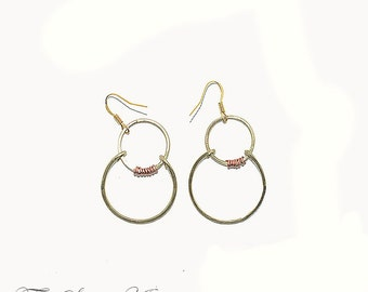 Brass two loop earrings