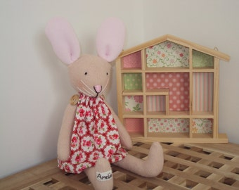 Bunny Rabbit with Red Provence Rose Floral Dress. Can be personalised