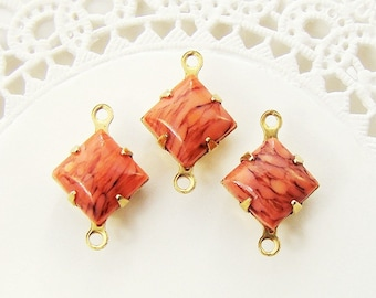 Opaque Coral Matrix 8mm Square Glass Stones in Brass Connector Settings - 6