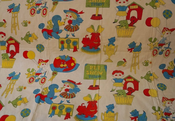 Clearance sale 70s retro childrens curtain fabric 1970s for Childrens fabric sale