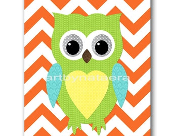 Owl Decor Owl Nursery Baby Nursery Decor Baby Boy Nursery Kids Wall Art Kids Art Baby Room Decor Nursery Print Owl Orange Blue Green