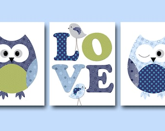 Kids wall Art Owl Nursery Owl decor Baby Nursery Decor Baby Boy Nursery Kids Art Baby Room Decor Nursery Print set of 3 Green Blue Navy