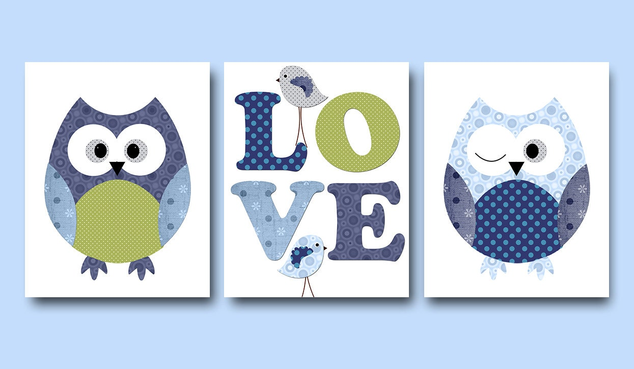 Kids wall art owl nursery owl decor baby nursery decor baby for Baby owl decoration