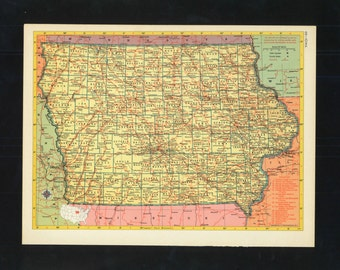 Vintage Map Iowa From 1953 Original