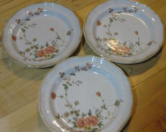 Mikasa Stoneware Silk Bouquet Discontinued Salad Great, Garden Club Plates, Set of 3, Great