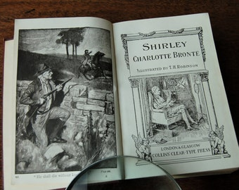 Shirley by Charlotte Bronte, Hardback book, Illustrated by T H Robinson, Circa 1910, Leather bound book, Charlotte Bronte novel