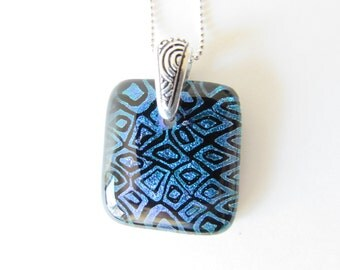 Blue Dichroic Glass Necklace Pendant