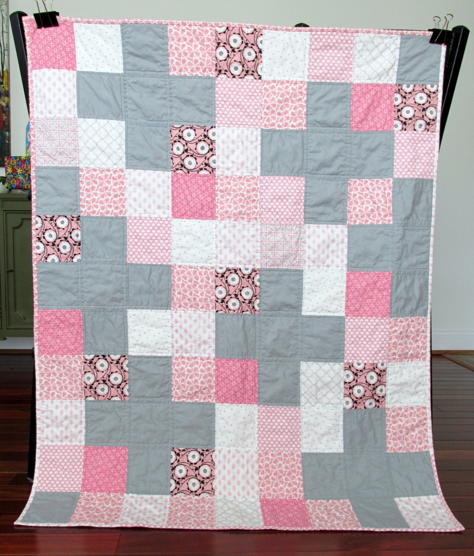 Valentine s day baby toddler quilt grey pink by shashalaruequilts
