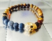 Mens Golden Skull Bracelet