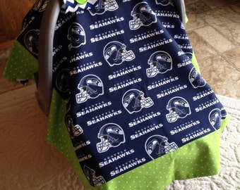 Seattle Seahawks Carseat Cover. Universal Fit to most carseats.
