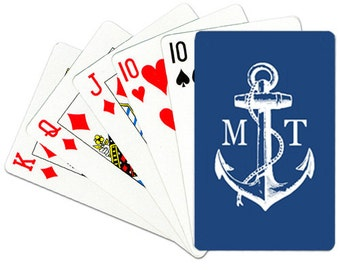 Nautical Monogrammed Playing Cards Personalized Deck of Cards Custom Anchor Playing Cards