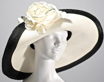 WIDE BRIM Black Panama Straw Women's Hat, Kentucky Derby Hat, Women's Black Summer Hat