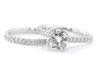 Cushion cut wedding set engagement ring and wedding band diamond wedding set forever brilliant moissanite center stone custom bridal jewelry