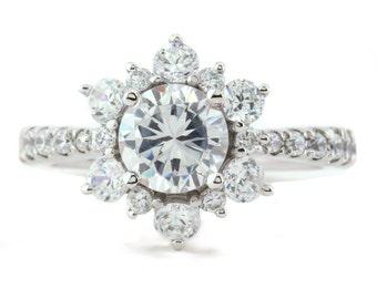 Engagement Ring Moissanite Center Diamond Halo Setting Gold Platinum or Palladium Snowflake