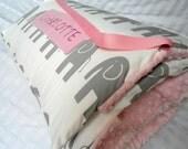 "Nap Mats Preschool Toddler Kindergarten Daycare Blanket Pillow Cover Plush Pink Minky Elephant Kindermat Personalization Girl Kids 20"" x 46"""