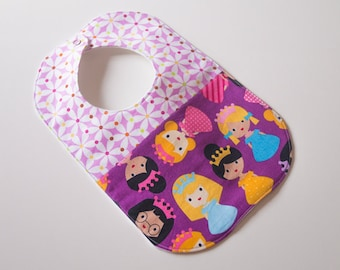 Designer Girl Baby to Toddler Bib - Princess Girlfriends Pinwheels - OOAK - Ready to Ship - Yellow, Lavender, Aqua, Pink, Orange, Green