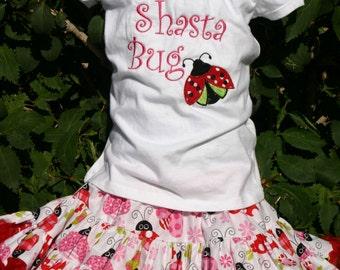 Ari's Angels Little Laddybug Applique Shirt and Full Skirt,