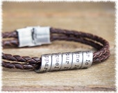 Mens Leather Bracelet • Hand Stamped Jewelry • Mens Personalized Bracelet