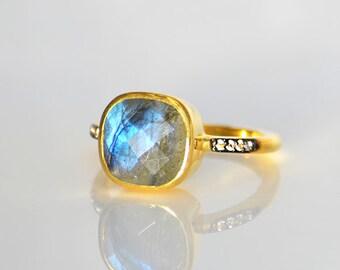 Labradorite ring - micro pave ring - White Topaz Pave ring, statement ring, cushion ring, pave jewelry, bezel set ring, stacking ring