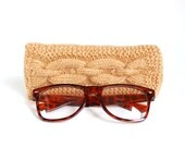 Light Brown Glasses Case. Reading Glasses Case. Eyeglasses or Sunglasses Holder. Knitted Glasses Case.