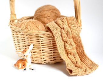 SALE - 30%OFF. Light Brown Knit Head Wrap. Knitted Brown Headband. Knit Head Warmer.