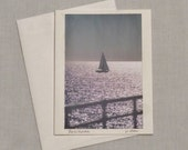 Framable blank photo card;  Sailboat photo card;  Ocean card; Santa Monica CA Pacific Ocean Wall Art