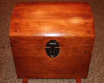 Vintage Antique Walnut Satin Stained Toy Chest, Toy Box Treasure Trunk, Dress-Up Trunk with Polyurethane Protection Coat
