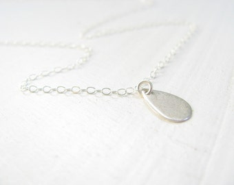Teardrop charm necklace, silver necklace, simple silver necklace, minimal everyday necklace, silver sterling