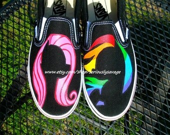 Mix And Match Any Character My Little Pony Silhouette Custom Painted Shoes Vans Toms Converse Rainbow Dash Pinkie Pie Rarity