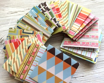 Mini envelopes - handmade tiny envelopes GEOMETRIC PRINTS  2.25 inch square self sealing pack of 10 with or without cards