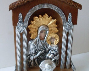Primitive Folkart Holy Madonna and Child  Silver Gold Altar  Beaconhillcollect  Collectibles  We Ship Internationally