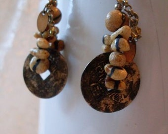 Vintage Urban Coin Earrings / Small Earthen  Beads  Beaconhillcollect  We Ship Internationally