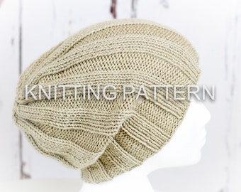 Knitting Pattern/DIY Instructions - Cresta Slouch Beanie Hat - Children, Adult, Aran weight yarn