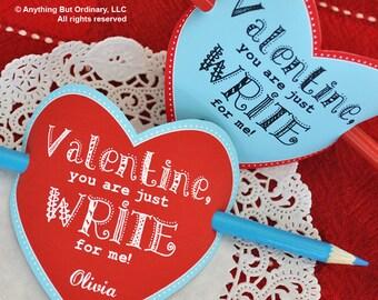 Pencil Valentines, Write for Me Pencil Holder Valentine, Editable Heart Valentine Pencil Cover, INSTANT DOWNLOAD, printable digital file