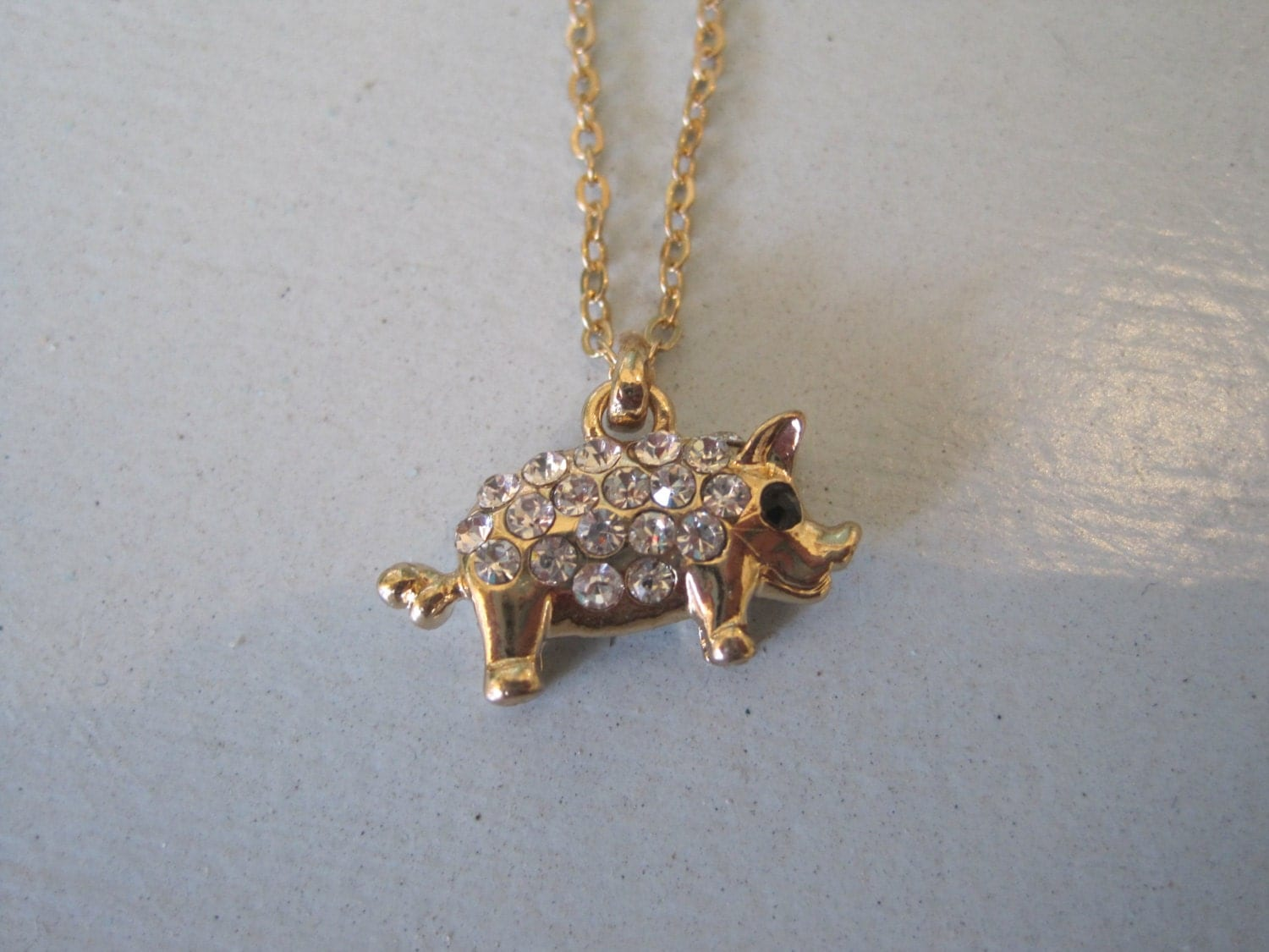 gold pig necklace rhinestone pig necklace