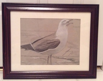 Seagull at Beach on Grey Paper  - Framed Original Drawing - Last day at this SALE price