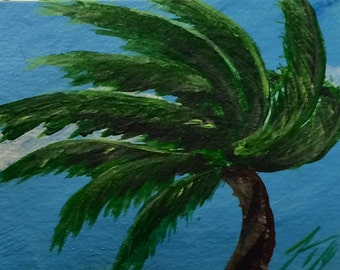 Palms Against Blue Sky - Set of 3 ACEO Original Paintings - Miniature - Introductory SALE price