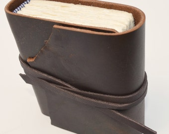 Leather Pocket Journal Bound Handmade Brown Diary with Sleeve Custom Order (336C)