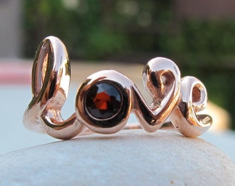 Silver Love Ring- Garnet Ring- Silver Garnet Ring- Gemstone Ring- Bestfriend Ring- Stone Ring- Word Love Ring- January Birthstone Ring- Ring