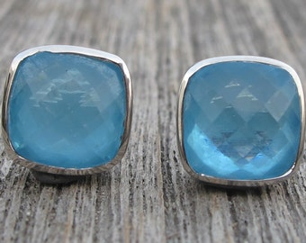 Blue Topaz Stud- Blue Quartz Stud- Blue Topaz Earring- Stone Stud- Gemstone Stud- Stone Earrings- Silver Stud Earrings- Blue Stone Stud