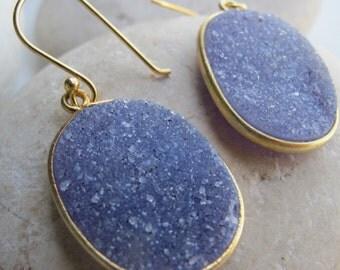 Blue Oval Druzy Earring- Gemstone Earring- Blue Earring- Statement Earring- Blue Quartz Earring- Crystal Earring- Druzy Earring- Earring