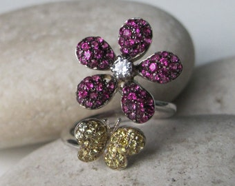 Butterfly Flower Ring- Adjustable Statement Ring- Unique Motif Ring